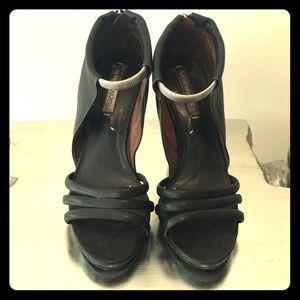 Black leather BCBG Maxazaria Heel, silver accents